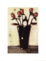 Red Roses in Black Vase II Fine Art Print