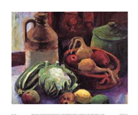 Vegetables and Stone Crocks Fine Art Print