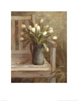 Tulip Bouquet on Bench Framed Print