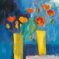 Cadmium Orange Poppies on Blue Fine Art Print