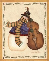 Snowman Playing Cello Fine Art Print