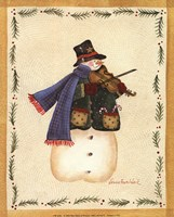 Snowman Playing Fiddle Framed Print