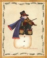 Snowman Playing Fiddle Fine Art Print