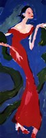 "Haute-Couture II (Red On Blue) by Scherezade Garcia - 12"" x 36"""