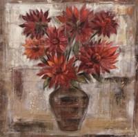 Dahlia's In Bronze Vase Framed Print