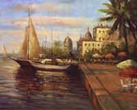 "Santo Domingo Harbor by Mali Nave - 20"" x 16"""