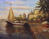 "Santo Domingo Harbor by Mali Nave - 28"" x 22"""