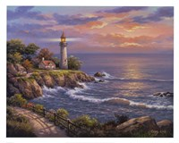 Sunset At Lighthouse Point Fine Art Print