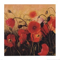 "Poppy Party by Shirley Novak - 14"" x 14"""