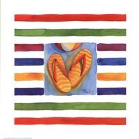 "Cabana Stripe Flip Flops by Paul Brent - 10"" x 10"""