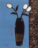White Flowers Black Vase II Fine Art Print