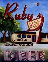 Ruby's Diner Framed Print