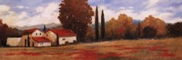 "Burgundy Farmhouse II by Kanayo Ede - 36"" x 12"""