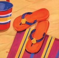 Orange Flip Flops Framed Print