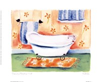 Tub On Flowered Mat Fine Art Print