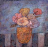 "Golden Vase by Carolyn Holman - 12"" x 12"""