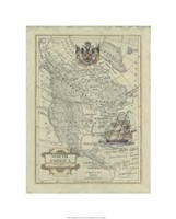 "Antique Map Of North America by Jillian Jeffrey - 20"" x 26"""
