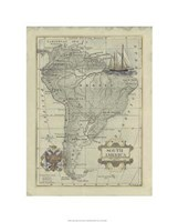 Antique Map Of South America Giclee