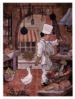 "Chef With Goose by Betty Whiteaker - 13"" x 17"""