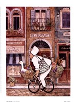 "Chef On Bike by Betty Whiteaker - 6"" x 8"""