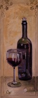 """Red Wine With Glass by Shari White - 8"""" x 20"""""""