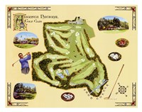"Golf Course Map-Augusta by Bernard Willington - 30"" x 24"""