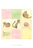Tic-Tac Cats In Pink Framed Print