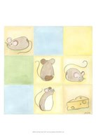 Tic-Tac Mice In Blue Framed Print