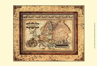 Crackled Map Of Europe Fine Art Print
