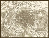 Sepia Map Of Paris Framed Print
