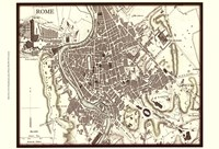 Sepia Map Of Rome Fine Art Print