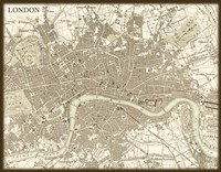 Sepia Map Of London Fine Art Print