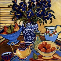 Blue And White With Oranges Fine Art Print