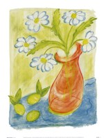 Daisies In Pink Vase Fine Art Print