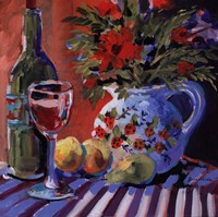 """Red Wine And Table by Jane Slivka - 24"""" x 24"""""""