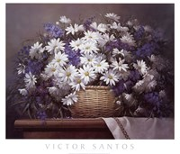 "Daisies and Delphiniums by Victor Santos - 32"" x 27"""