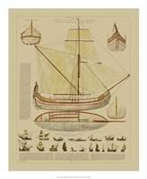 "Antique Ship Plan I by Gerard Paul Deshayes - 18"" x 22"""