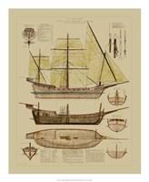 "Antique Ship Plan II by Gerard Paul Deshayes - 18"" x 22"""