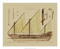 "Antique Ship Plan VI by Gerard Paul Deshayes - 22"" x 18"""