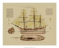 "Antique Ship Plan VII by Gerard Paul Deshayes - 22"" x 18"""