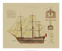 "Antique Ship Plan VIII by Gerard Paul Deshayes - 22"" x 18"""