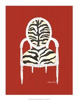 "Zebra Chair On Red by Chariklia Zarris - 14"" x 18"""