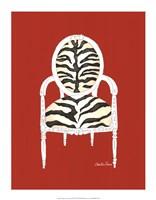 """Zebra Chair On Red by Chariklia Zarris - 14"""" x 18"""""""