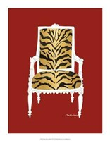 "Tiger Chair On Red by Chariklia Zarris - 14"" x 18"""