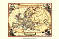 Small Nautical Map Of Europe Fine Art Print