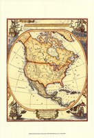 """Small Nautical Map Of North America - 13"""" x 19"""""""