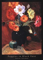"Poppies in Black Vase by Janine Salzman - 20"" x 28"""