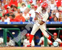 "Jimmy Rollins 2008 Batting Action by John James Audubon - 10"" x 8"""