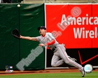 "Jacoby Ellsbury 2008 Fielding Action by John James Audubon - 10"" x 8"", FulcrumGallery.com brand"
