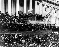 President Abraham Lincoln gives his inaugural speech during his second inauguration on March 4th 1865 Fine Art Print
